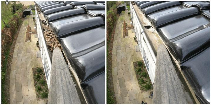 før og efter billede af rensning af tagrender eller tagrenderens